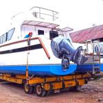 Loading Catamaran Boat in Netlog warehouse